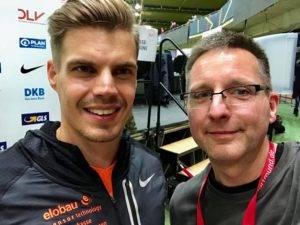 Julian Reus (li.) holte sich den Titel über 60 Meter. Ich holte mir ein Andenken.